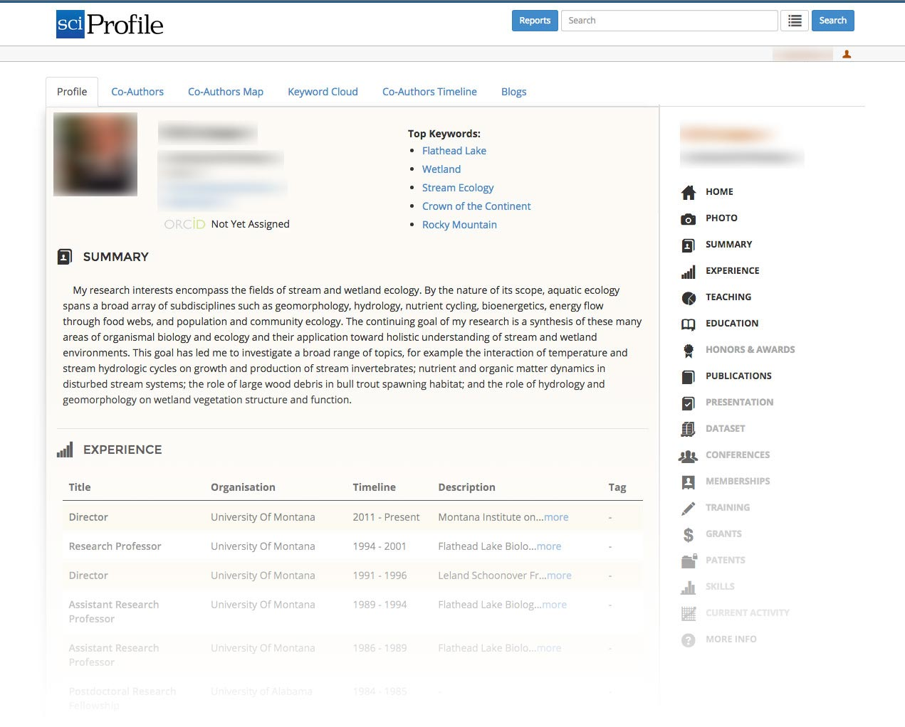 sciProfile example account profile dashboard